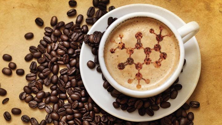 латте-арт молекула кофе в чашке